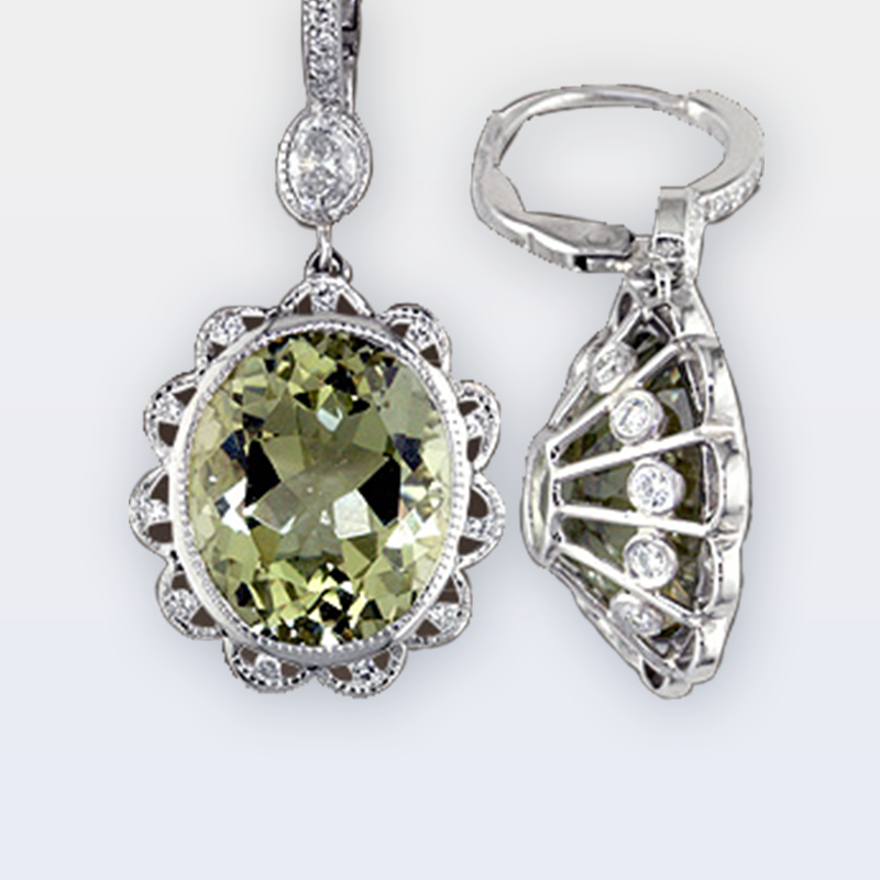 Dangle leverback earrings with oval green beryls and diamonds