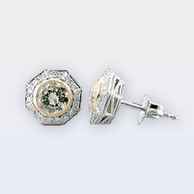 Yellow diamond stud earrings with white diamond octagonal halos