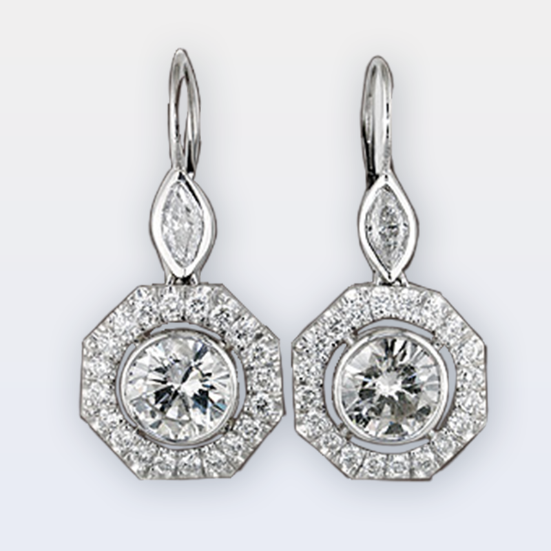 Platinum lever back earrings with round center stones and octagonal halos and marquise diamonds
