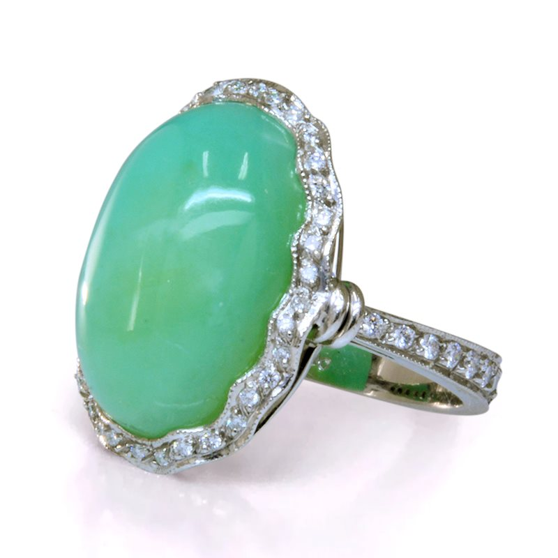 Green oval Peruvian opal ring with diamond halo and band