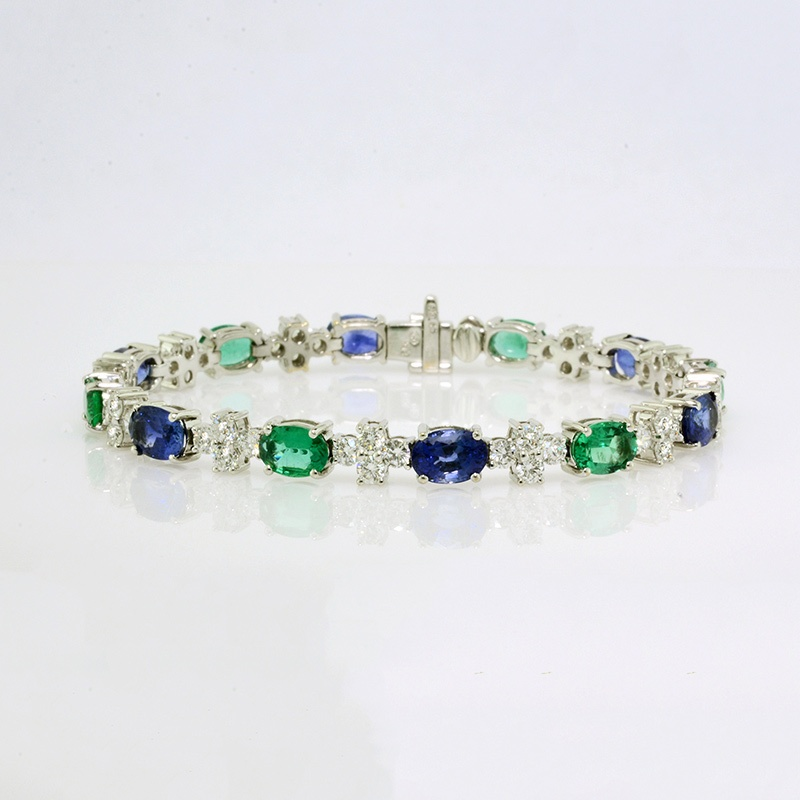 Emerald, sapphire, and diamond tennis bracelet