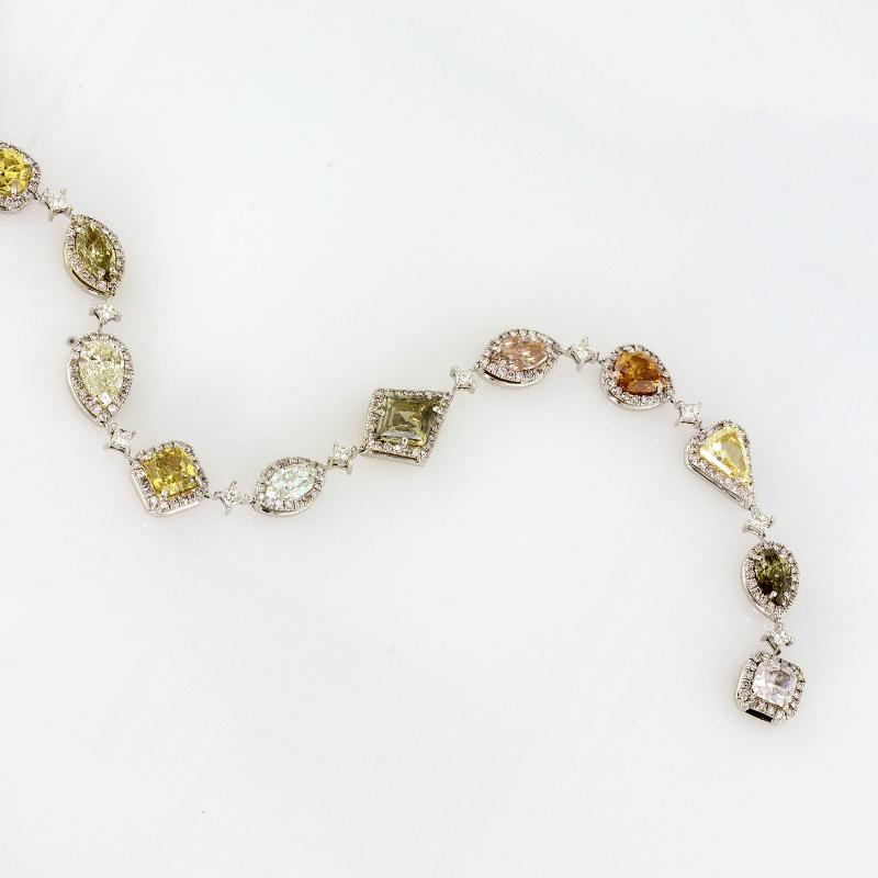 Multicolored diamond bracelet in various shapes