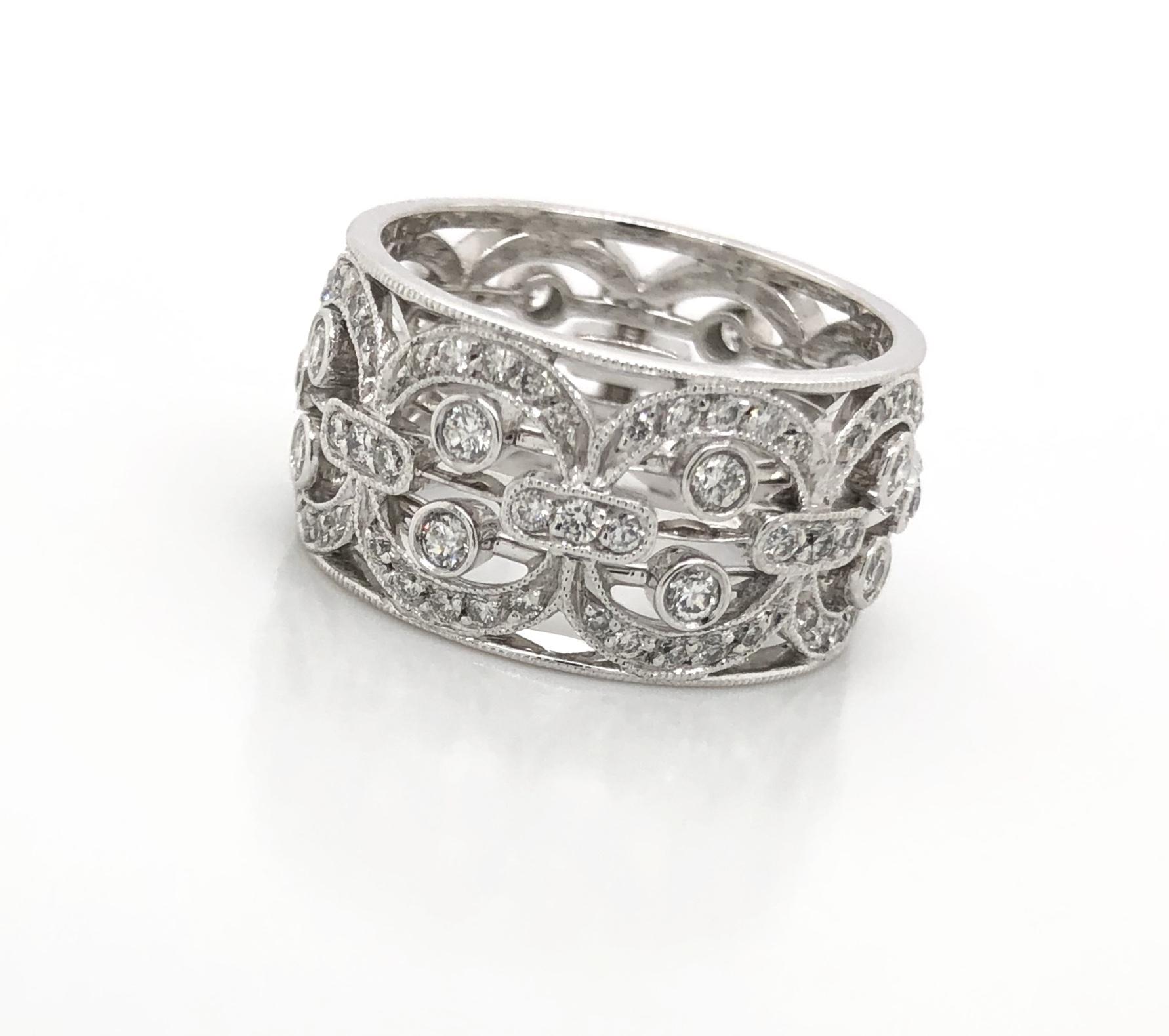 Wide diamond buckle ring