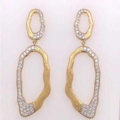 Organic yellow gold and diamond drop earrings