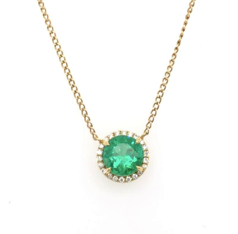 18k yellow gold necklace featuring a round emerald with a diamond halo