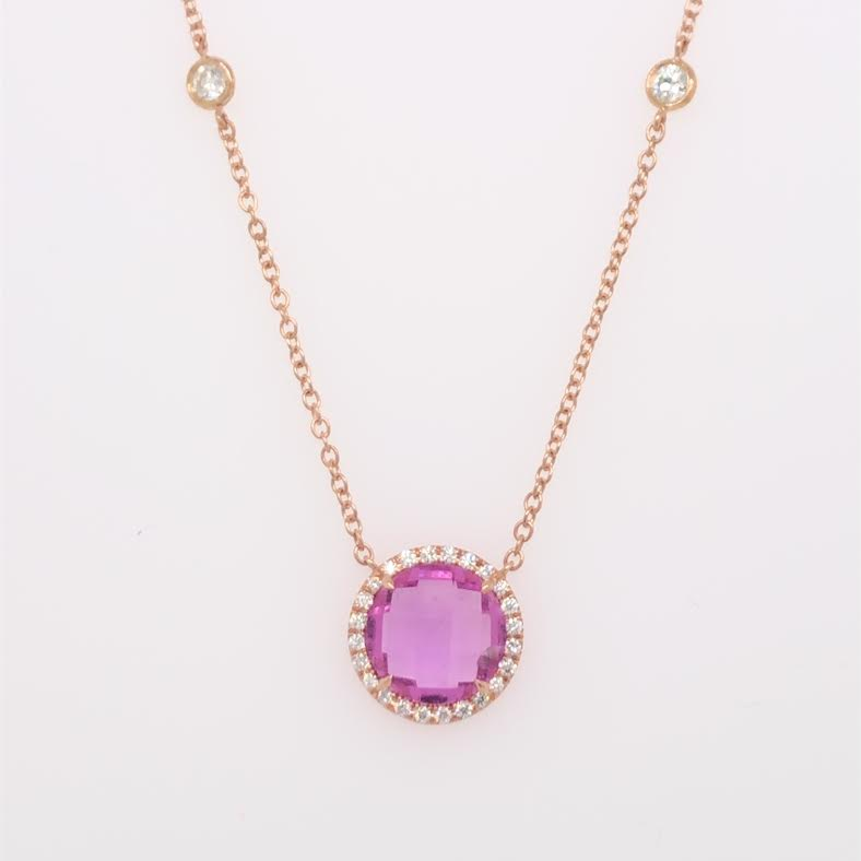 Handcrafted 18k rose gold necklace with a checkerboard-cut pink sapphire and diamond details