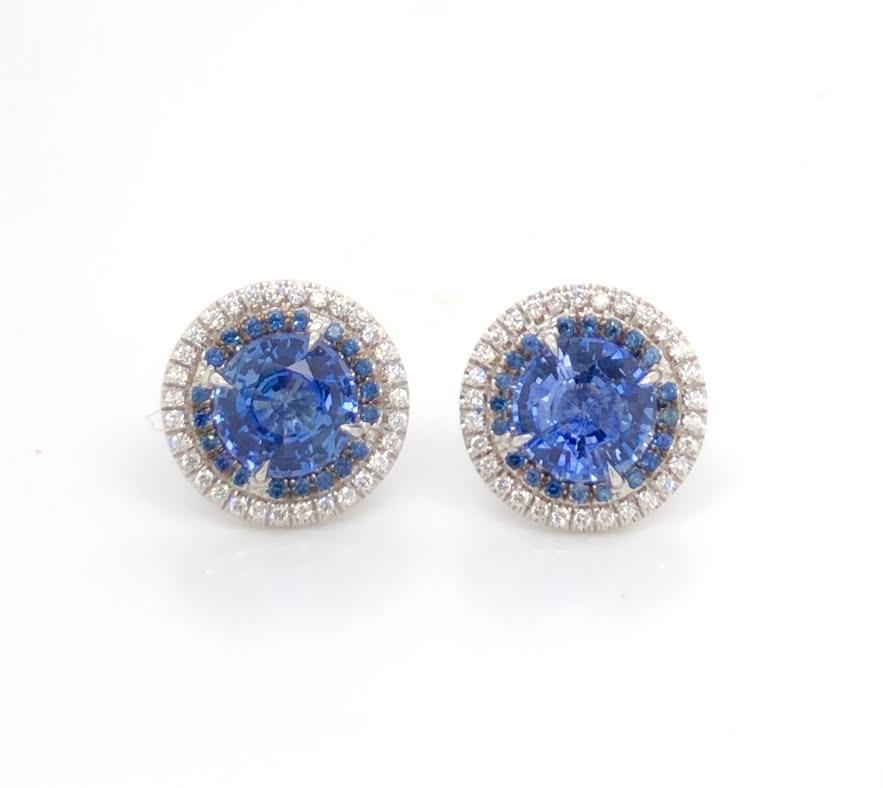 sapphire studs with sapphire and diamond halos