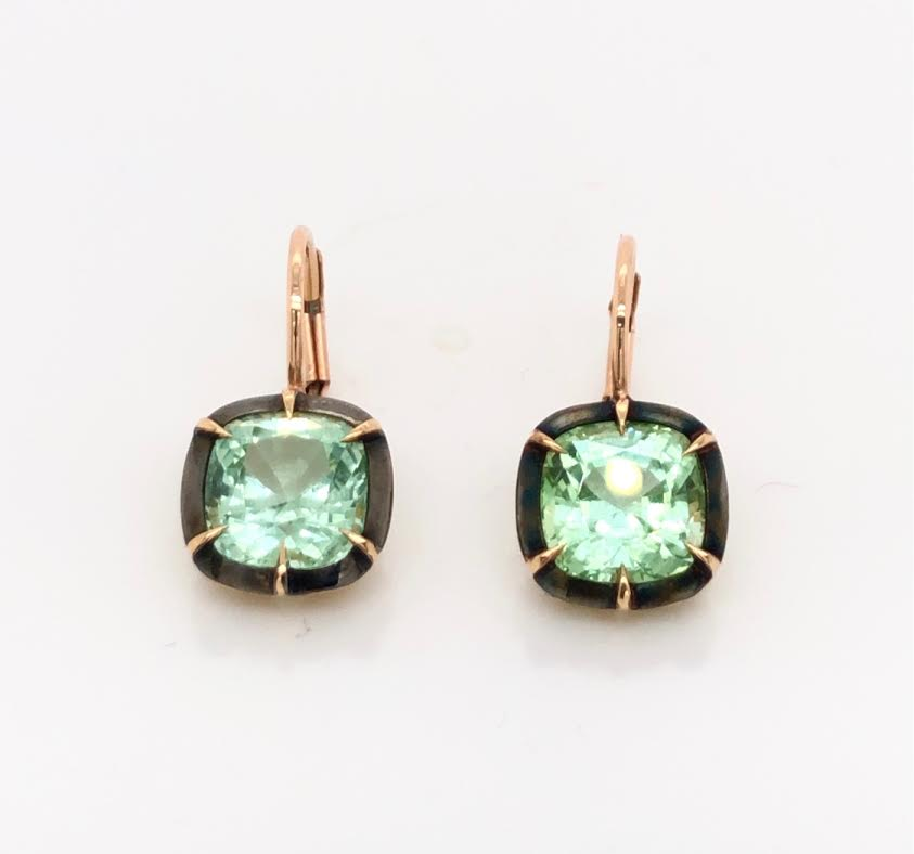 18k rose gold earrings featuring mint tourmalines and black enamel