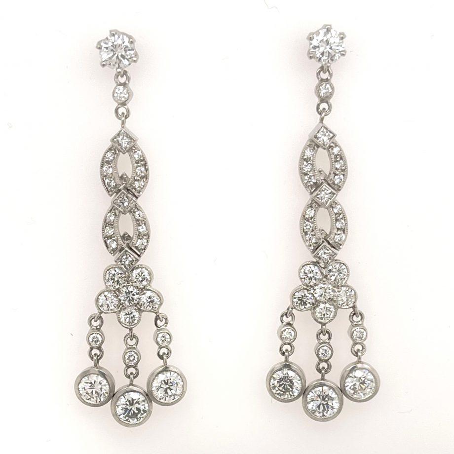 Floral diamond dangle earrings