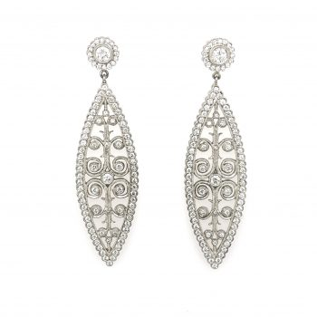 """Moulin Rouge"" large platinum marquise-shaped post earrings with diamonds and intricate scroll work"