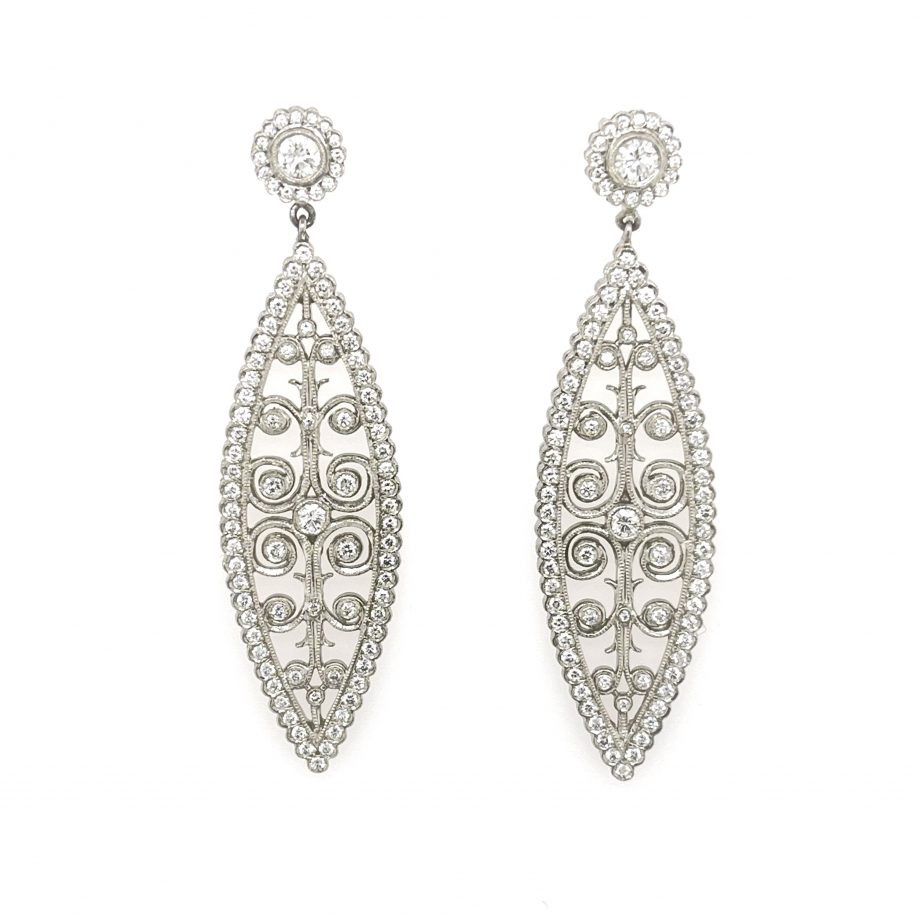 """""""Moulin Rouge"""" large platinum marquise-shaped post earrings with diamonds and intricate scroll work"""
