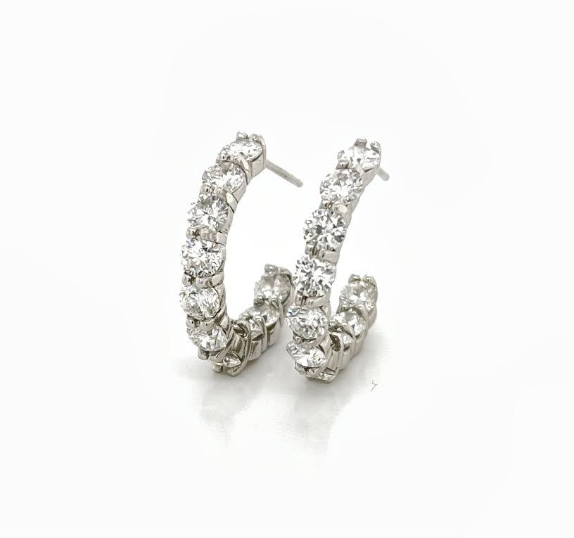 Diamond hoop earrings with post