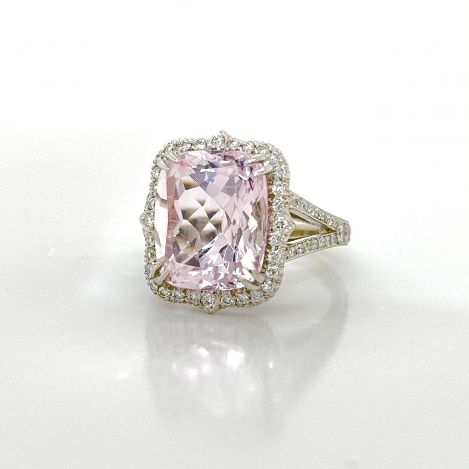 morganite ring with diamond halo and split shank