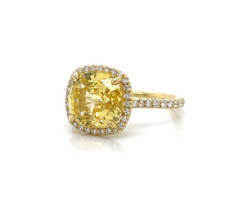 Cushion-Cut Yellow Sapphire Ring