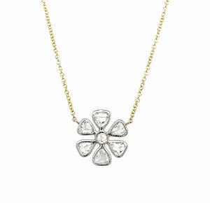Two-Tone Rose-Cut Diamond Flower Necklace