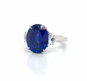 Large Oval Sapphire Ring with Half Moon Diamonds