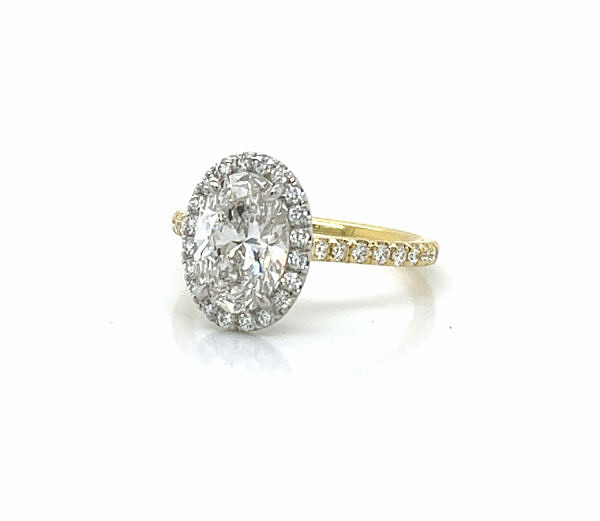 Two-Tone Oval Engagement Ring with Halo