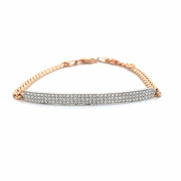Two-Tone Diamond Pave Bar Bracelet