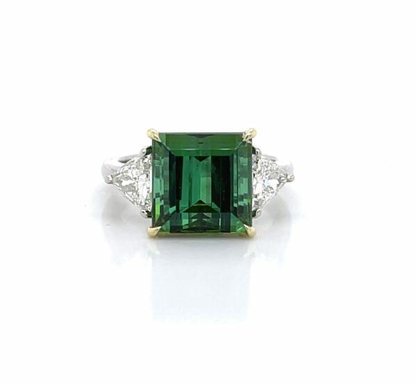 Green Tourmaline and Diamond Ring